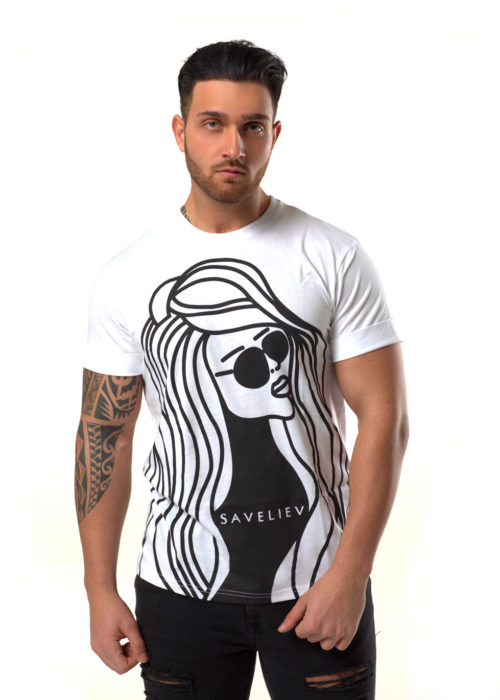 """White -100% Cotton, Round neck T-shirt with short turn-up sleeves.Featuring a front print with a Matt finish.The Model is wearing a Medium T-Shirt and is 6 ft (183 cm) with a 41"""" Chest ( 102 cm )Comes in a Limited Edition Presentation Box andFree Delivery"""