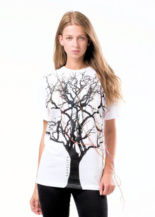 White - 100% Cotton in a boyfriend style, with loose-fit sleeves.the T-Shirt has a Round neck and short turn-up sleeves. Featuring a front print with a Matt Finish.The T-Shirt has Coloured Cottons cascading from the tree it symbolizing there is Life from within.HEIGHT OF MODEL: 189 cm. / 6′ 2″ SIZE MComes in a Limited Edition Presentation Box and Free Delivery