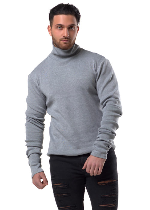 SAVELIEV's Grey Signature top is knitted, the thickness is great for the Winter. The extra-long Sleeves allows even bunching on the arms to give that Signature look, with a high polo neck that does not cause restriction, the back of the Top has the brand name Saveliev sitting across the shoulder in screen-print Black Rubber. Material 90% Cotton 10% Spandex