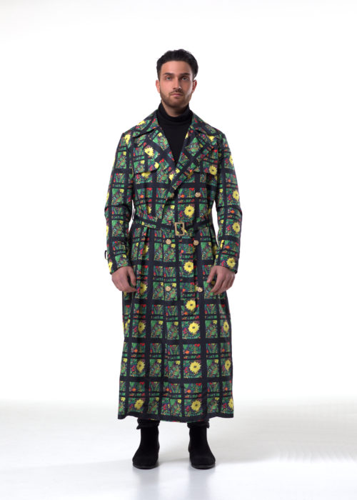 Sunflower Coat This coat was designed to keep elements of the past seasons in the winter nights. The pattern shows Sunflowers with the Saveliev name run through and is a Double-Breasted trench Coat with mid belt and optional wrists belts the Coat also has 2 side pockets. Material 100% Nylon