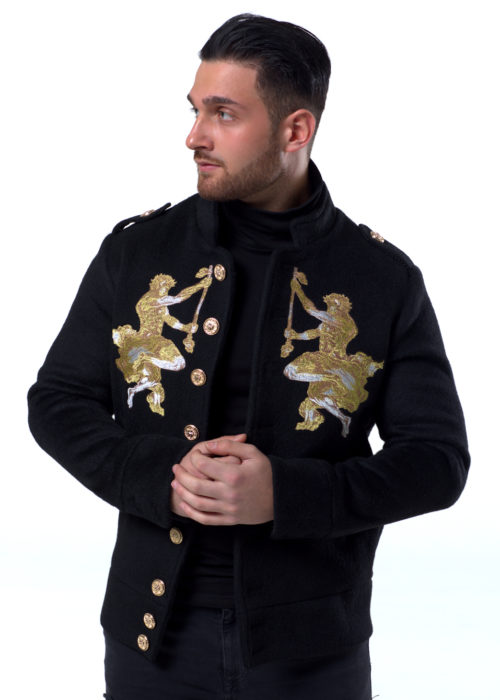 This Black jacket is one of our higher end range with the mixture of fibers used to make this beautiful piece, the jacket has 2 male angles either side of the chest facing to the center, where a flow of gold buttons fastens down to the bottom, the jacket has Long Sleeves and a short collar the soft short hair feel gives the sense of luxury.